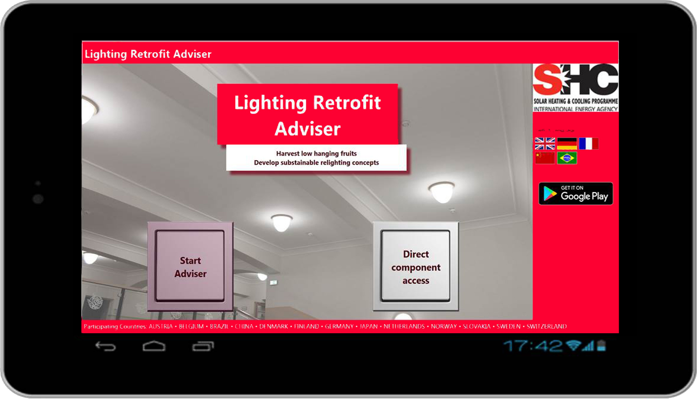 Lighting Retrofit Adivser, Tool-Startbild