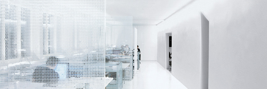 Open-plan office with microperforated screen walls